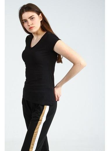 Collezione Siyah V Yakalı Kısa Kollu Basic Kadın Tshirt Siyah